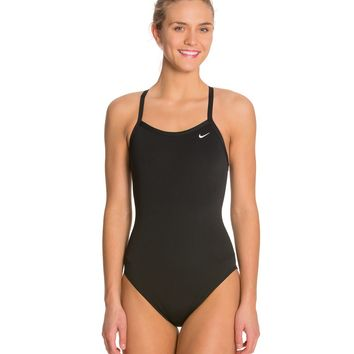 Nike Women's Solid Poly Training Lingerie Tank One Piece Swimsuit at SwimOutlet.com - Free Shipping