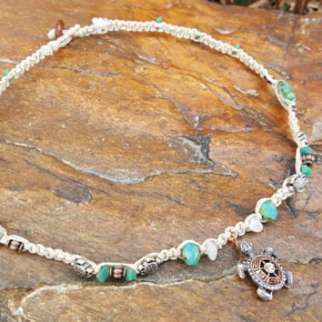 Hemp Necklace, Turtle, Moonstone, Czech Glass Beads, Turtle Necklace, Handmade Jewelry, Turtle Hemp Necklace, Macrame Hemp Necklace, Gift