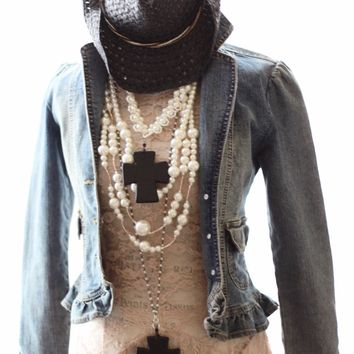 Boho ruffle jean jacket, Stagecoach festival jean jacket, True Rebel Clothing