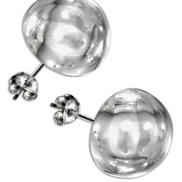 Sterling Silver 14mm High Polish Half Round Button Post Earrings
