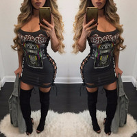 2017 Summer Women Print Unique Side Lace Up Hollow Out Sexy Dress O-Neck Mini Sheath Bodycon Sleeveless Party Club Wear Dresses