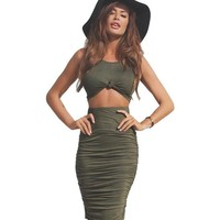 Ruched Skirt + Crop Top Women Bodycon Two Piece Dress