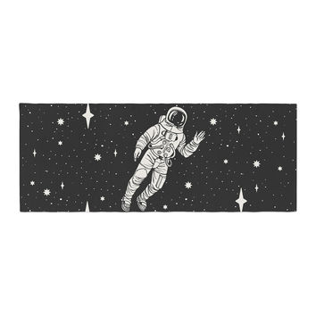 "Kess Original ""Space Adventurer"" Black Fantasy Bed Runner"