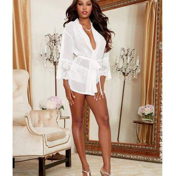 Dreamgirl Chiffon & Stretch Lace Short Length Kimono Robe & Cheeky Panty White