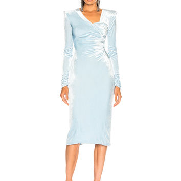 VERSACE Off Shoulder Ruched Midi Dress in Light Blue | FWRD