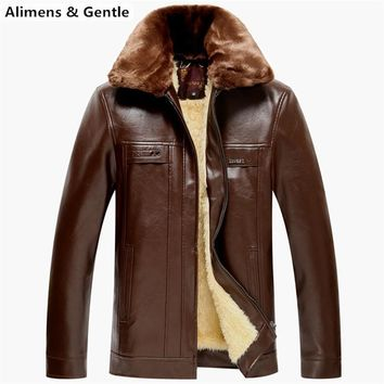Men's Leather Jackets Winter Over Coat Suede With Fur Collar Snow