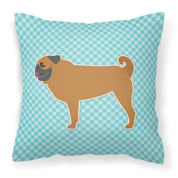 Pug Checkerboard Blue Fabric Decorative Pillow BB3747PW1414