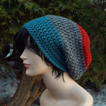 Mens Slouch Beanie, Red Gray and Teal Crochet Hat, Oversized Slouchy Beanie, Chunky Hat, Baggy Beanie, Slouchy Hat