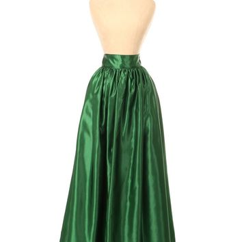 Daisy Corsets Dark Green Satin Long Skirt