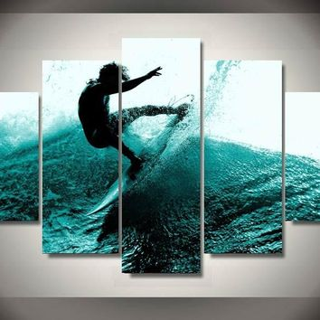 Blue Wave Surfer 5-Piece Wall Art Canvas