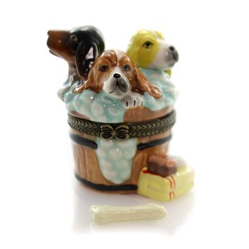 Hinged Trinket Box THREE PUPPIES BATHING Porcelain Barrel Tub Dog Bone Eb1188
