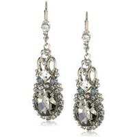 "Sorrelli  ""Pewter"" Double Loop Crystal Stardust Drop Earrings"
