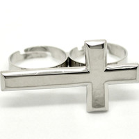 Two Finger Cross Ring | Sideways Cross | Silver Ring |  | Adjustable Ring | Two Finger Ring | Double Ring | Celebrity Style | Statement Ring
