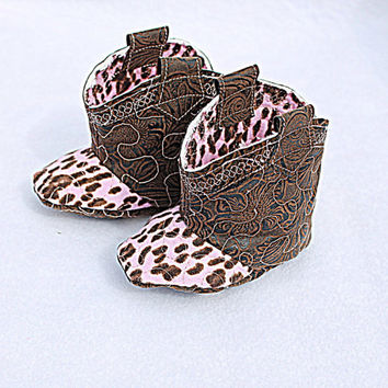 Baby Cowgirl Boots Pink Brown Vegan Faux Leather Children's Quilted Booties