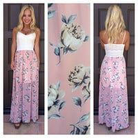 Pretty In Petals Crochet Top Maxi Dress - IVORY & PINK