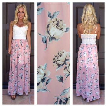 df10df0429 Pretty In Petals Crochet Top Maxi Dress - IVORY & PINK