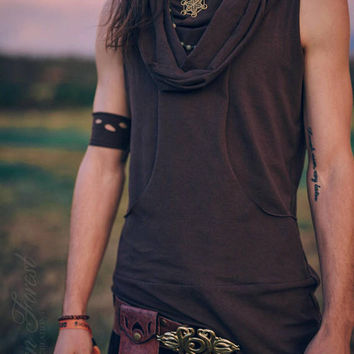 Reversible Bandolier Hoodie ~ Men's Festival Top ~ Elven Forest, mens festival clothing, gypsy man, Sleeveless with Kangaroo Pocket