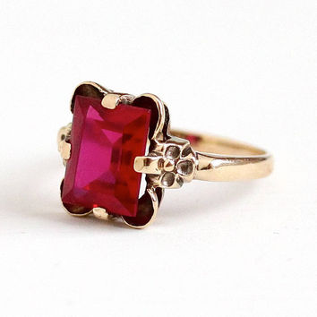 Sale - Vintage 10k Rosy Yellow Gold Created Ruby Flower Ring - Retro 1940s Size 7 Red Pink 3 + Carats July Birthstone Fine Floral Jewelry