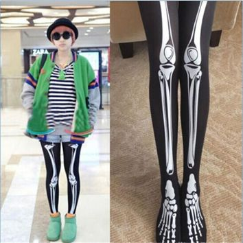 bones black skeleton leggings