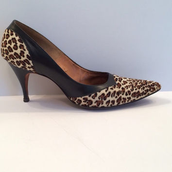 Vintage Black and Zebra Heels, Shoes--Decor or Retro Wear: hand-made Italy
