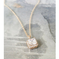 Dainty Gold CZ Necklace, Dainty CZ Necklace, CZ Necklace, Dainty Gold Necklace, Gold Necklace, Dainty Necklace