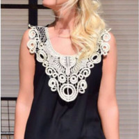 Lace Patchwork Tank Top in Black or White