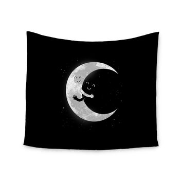 "Digital Carbine ""Moon Hug"" Black White Wall Tapestry"