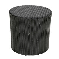 Outdoor Round Barrel Style Patio Side Table in Black Wicker Resin