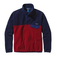 Patagonia Men's Lightweight Synchilla® Snap-T® Pullover | Classic Red w/Navy Blue