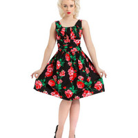 Voodoo Vixen Spring Flowers Belted Dress - Last One Large