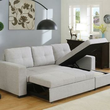 2 pc Everly collection contemporary style light grey linen like fabric upholstered sleeper sectional sofa