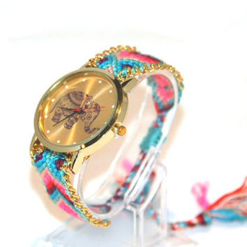 Elephant Friendship Bracelet watch. Hippy braided watch. Boho Chic Watch, Crochet Bracelet Watch.Gift Wrapped Festival Watch