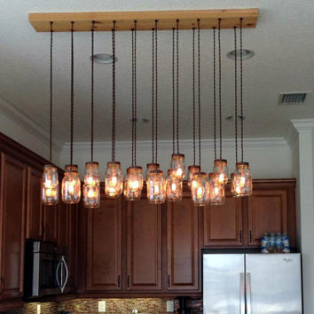 16 Light DIY Mason Jar Chandelier - Rustic Cedar