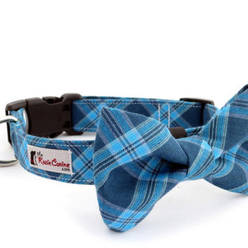 Navy Blue and Aqua Tartan Dog Collar (Blue Plaid Dog Collar Only - Matching Bow Tie Sold Separately)