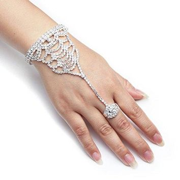 YUXI Silver Wedding Bride Hand Harness Latin Dancer Austria Crystal Bangle Finger Ring Free Size Style 2