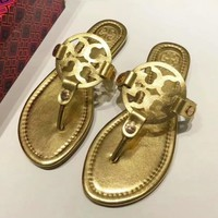 Tory Burch Fashion New Solid Color Leopard Print Slippers Shopping Leisure Shoes Sandals Women Gold