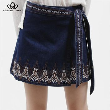 Bella Philosophy 2017 summer autumn women's vintage ethnic floral Embroidery bow knot denim wrap skirt navy blue