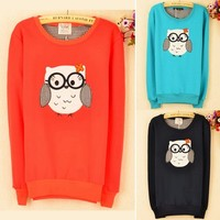 Korean Cartoon Owl Womens Crew Neck Long Sleeve Sweatshirt Sweat Outwear Top 1Pa