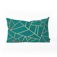 Elisabeth Fredriksson Copper and Teal Oblong Throw Pillow