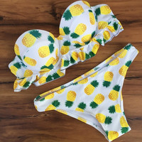 Cute Fruits Pineapple Print Bikini Brazilian Push Up Swimsuits