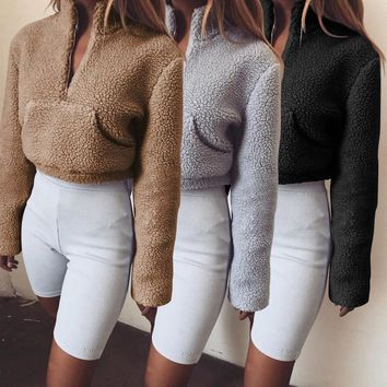Autumn Winter Women Hoodie Faux Fur Hoodie Fleece Crop Top Fur Warm Pullover Zipper Turtleneck Female Pocket Hoodies Streetwear