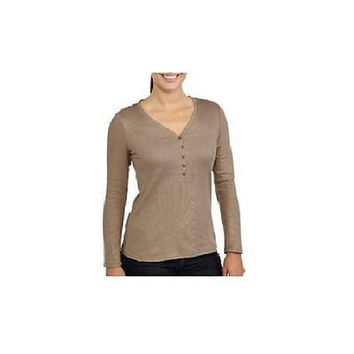 Jordache Women's Long Sleeve Shimmer Henley, Taupe, Small