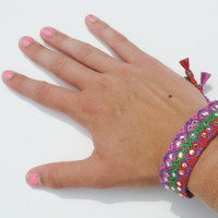 Friendship Bracelet - Diamond Pattern with Sparkling Silver Crystals - Handmade
