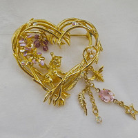 Kirks Folly Heart Brooch Pin Wisteria Pixie Fairy Angel