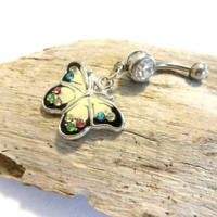 #ButterflyBellyButtonRing #ColorfulBellyRing #ButterflyJewelry #NavelPiercing #BodyJewelry