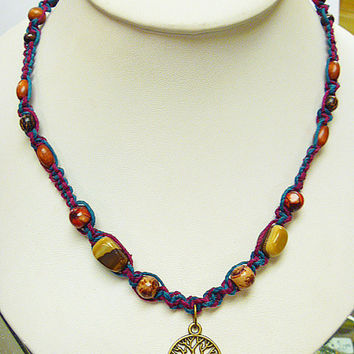 Tree of Life  Hemp Necklace   long  hippie   handmade macrame jewelry