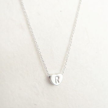 Heart Initial Necklace - personalized monogram necklace, bridesmaid necklace, silver, hand stamped