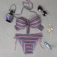 Womens Halter Aztec Pattern Bikini Ethnic Geometric Tribal Print Swimwear Summer