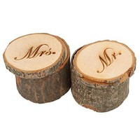 Wedding Ring Box Wooden Printed Mr Mrs Shabby Chic Ring Box
