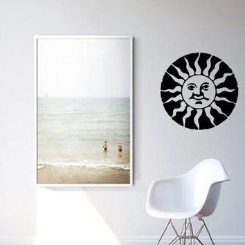 Happy Sun Wall Decal - Home Decor - Gift Idea - Bedroom - Living Room - Kitchen - Office - Kids Room - Bedroom